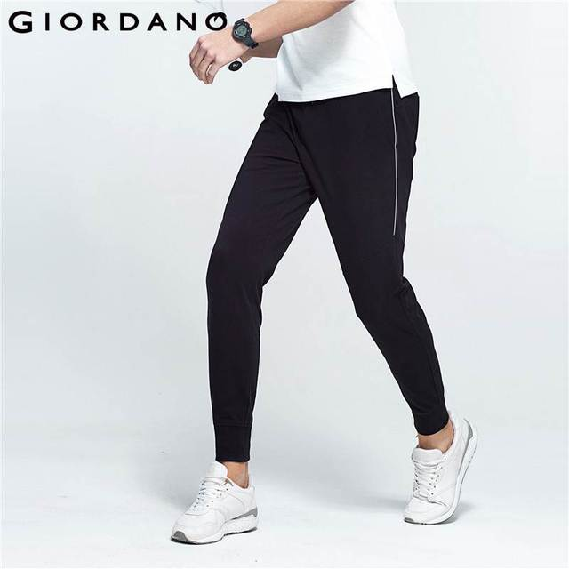 ca1c99e1a Giordano Men Joggers Pants Slim Tapered Pantalon Homme Reflective Trousers  Casual Jogger Sporty Pockets Drawstring Narrow Feet