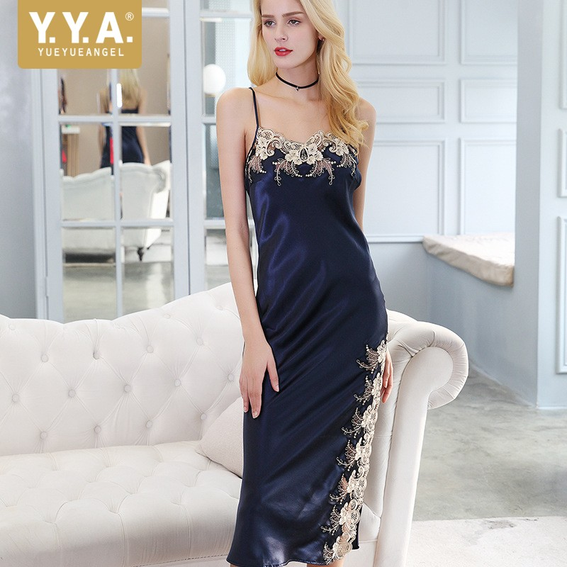 High Quality Luxury Nighties For Women Sexy Straps V Neck Floral Embroidery Nightdress 100% Real Silk Slim Fit Sleepwear Dress