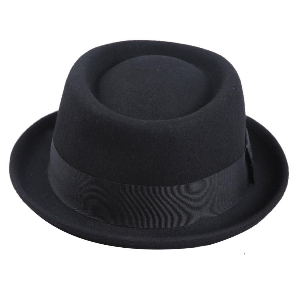 FS 2018 Wool Felt Pork Pie Hats Men Wide Brim Black Church Fedora Mans Hat  Jazz Vintage Ribbon Trilby Panama Gangsters Caps-in Fedoras from Apparel ... f7dccca8421