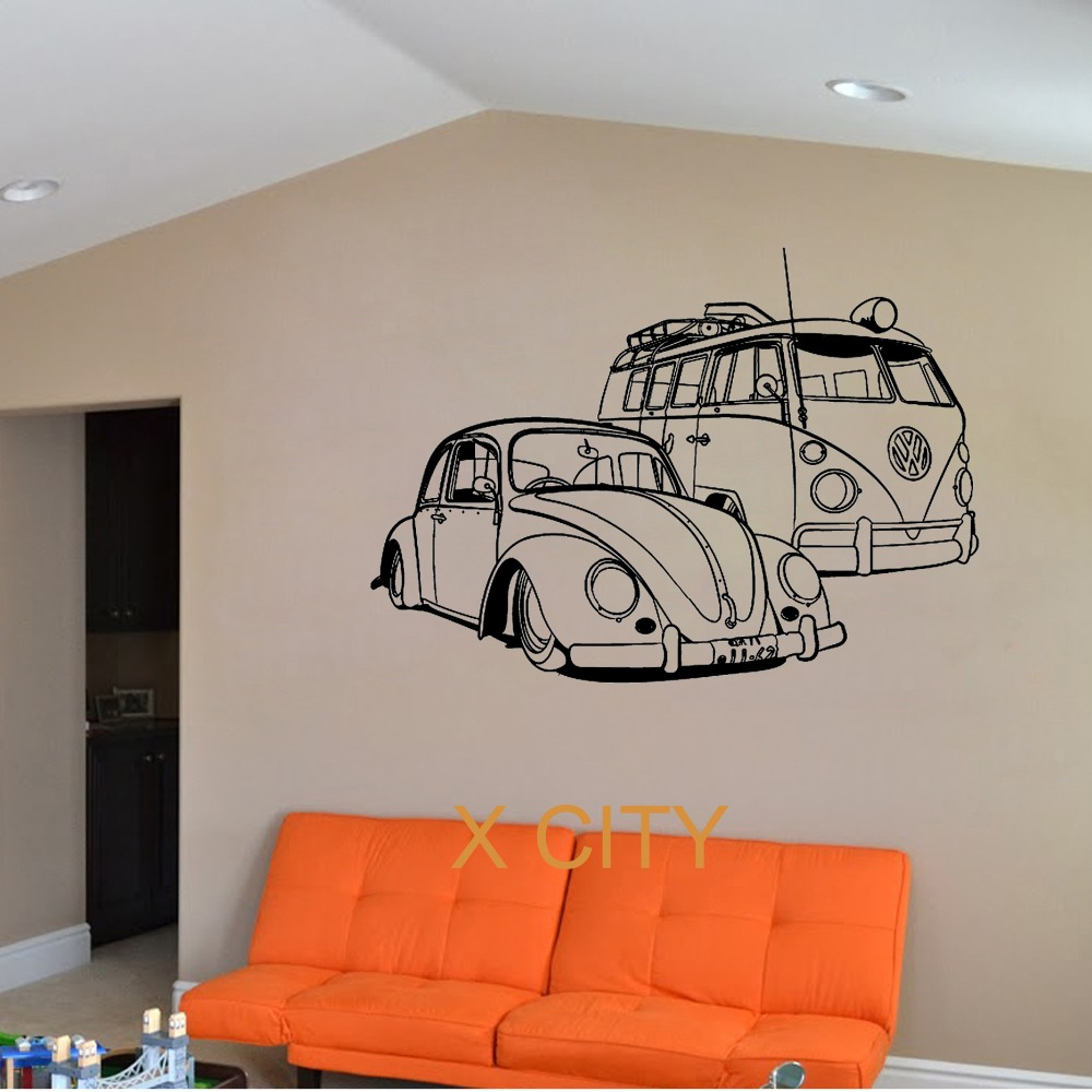 FOR VW Camper Van And Beatle Car Club Vinyl Wall Decal Art Decor Sticker Living Room Door Stencil Mural