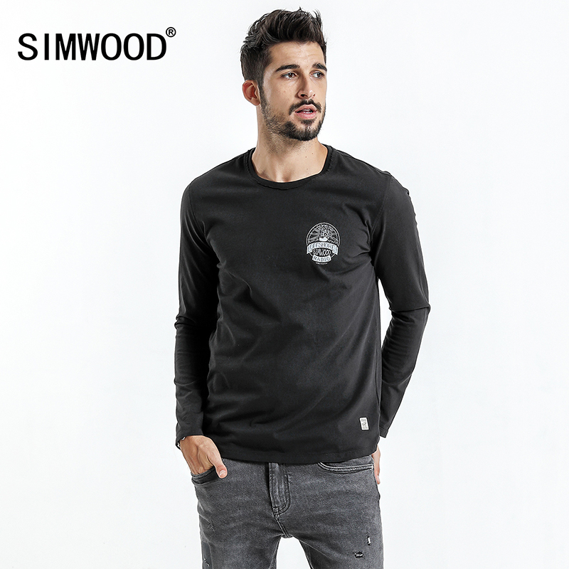 SIMWOOD 2018 New spring Long Sleeve T Shirt Men Vintage Slim Fit 100% Pure Cotton Shirts Men Plus Size Tops TC017013