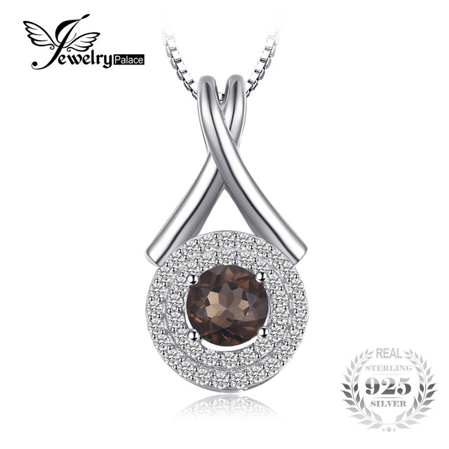 """JewelryPalace Fashion """"X"""" marks 0.65ct Natural Smoky Quartz Round Pendant S925 S"""