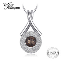 JewelryPalace Fashion X Marks 0 65ct Natural Smoky Quartz Round Pendant S925 Sterling Silver Fine Jewelry