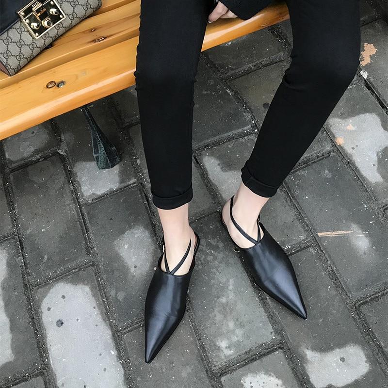 Sexy Pointu Orteil Black Noirs Femmes Cuir En Véritable Escarpins Femme Plat Début Couverture Du Au Chaussures Printemps Boucle Sangle SfqH1wa