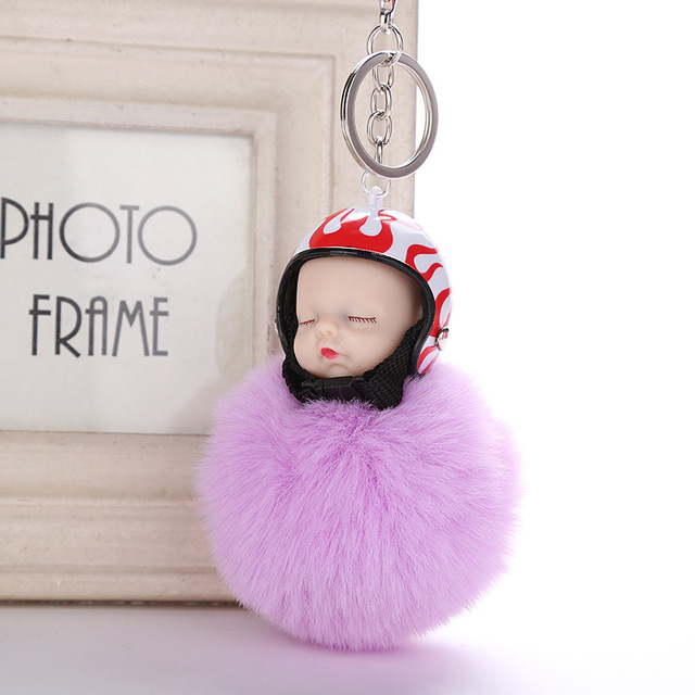 fb8265260b Helmet Fluffy Sleeping Baby Doll Keychain Key Holder Women Bag Rabbit Fur  Pompom KeyRing New Key
