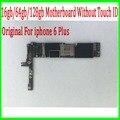 16 ГБ/64 ГБ/128 ГБ для iphone 6 Plus Материнская Плата Без Touch ID, 100% Оригинальный разблокирована для iphone 6 plus Материнская Плата