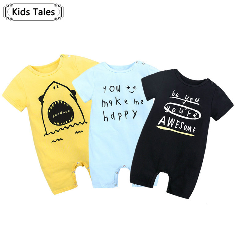 SR347 Baby Rompers Summer Style Baby Boys Girls Clothing Newborn Infant Letter Print Short Sleeve Clothes for Bebe De Roupa
