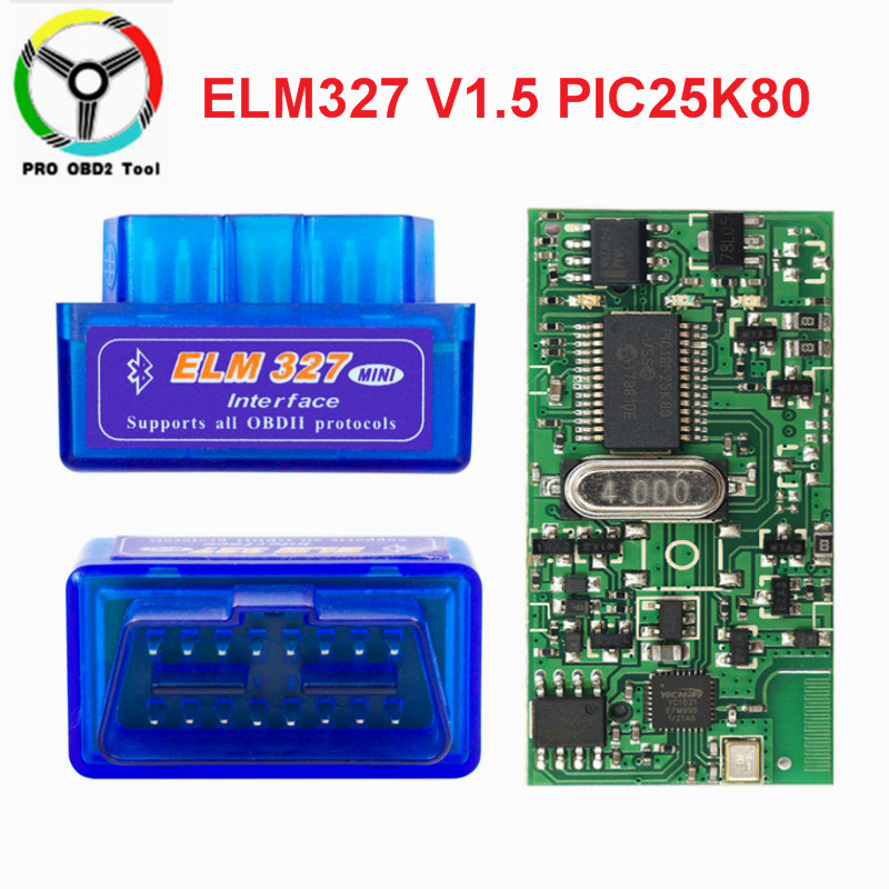 2019 Super Mini ELM327 V1.5 Bluetooth PIC18F25K80 ELM 327 1.5 OBD2 Car Diagnostic Tool Support J1850 Protocols