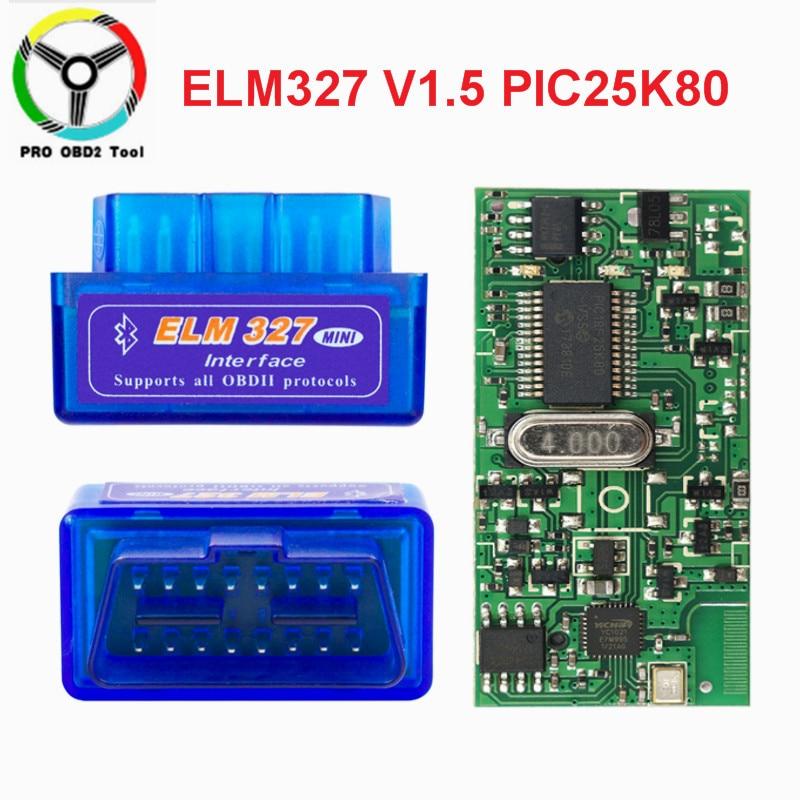 Super mini elm327 v1.5 bluetooth pic18f25k80 elm 327 v 1 5 obd2 ferramenta de diagnóstico suporte j1850 protocolos acessórios do carro