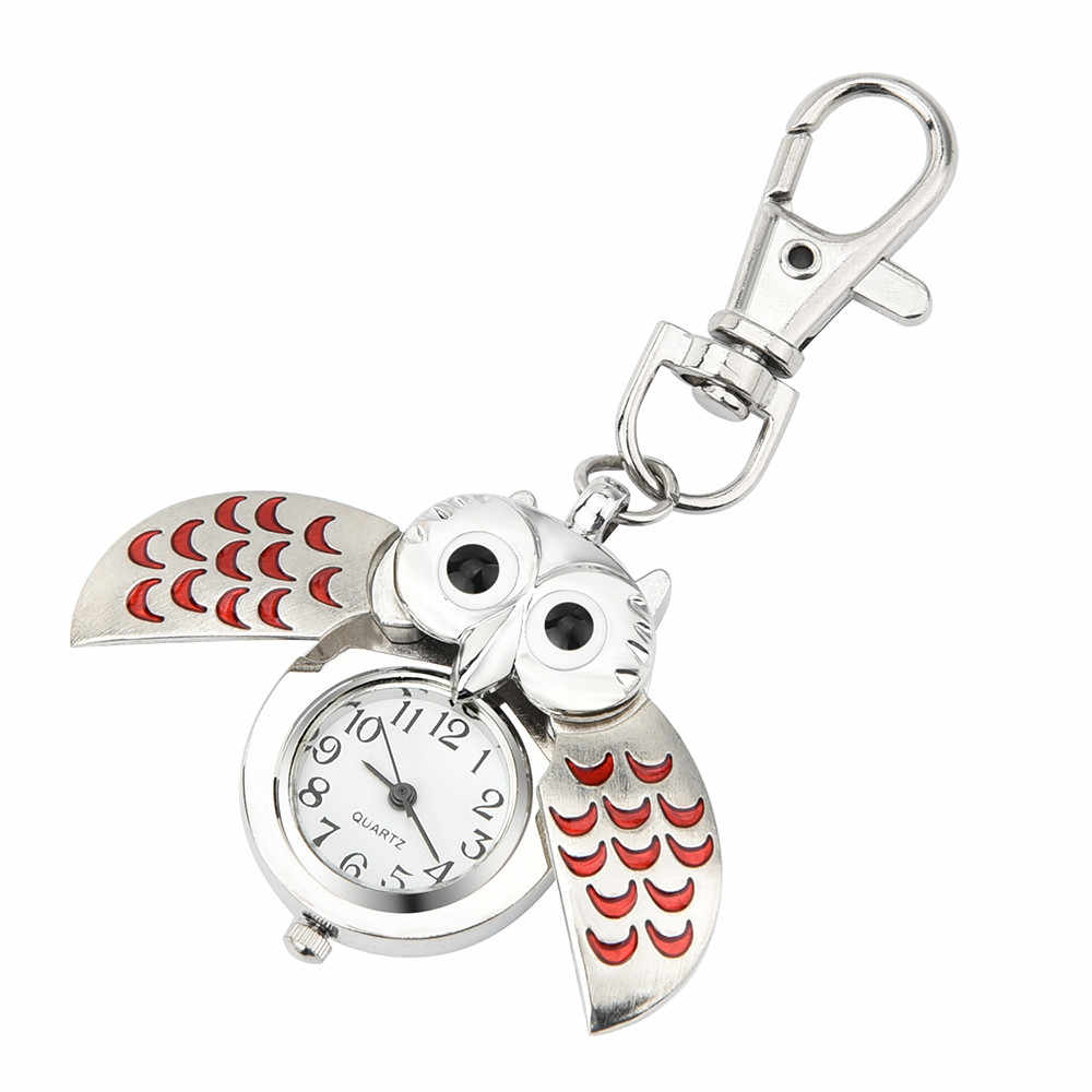 Gorgeous Owl Charm Unisex Fashion Roman Number Quartz Pocket Keychain Watch Women Man Necklace Pendant with Chain Gifts  #D