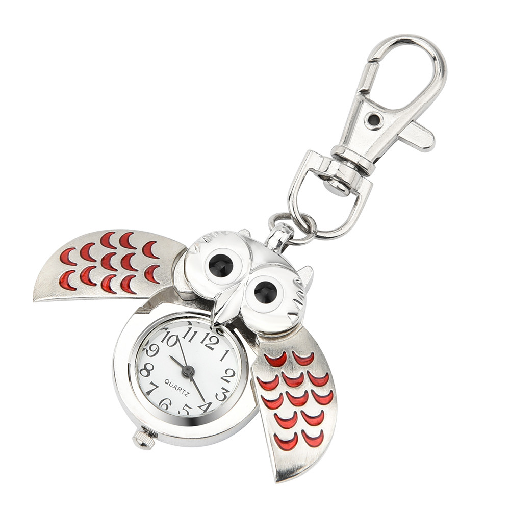 Gorgeous Owl Charm Unisex Fashion Roman Number Quartz Pocket Keychain Watch Women Man Necklace Pendant with Chain Gifts #D cute owl style stainless steel quartz watch with keychain silver 1 x 377