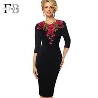 FEIBUSHI Women Autumn Elegant Applique Embroidery Crochet V Neck Vestidos Bodycon Work Office Bodycon Female 3