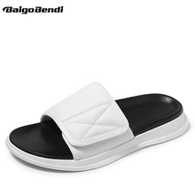 Recommand Men Slippers Outdoor Genuine Leather Trendy Holiday Beach Shoes Leisure Man Fashion Slides White