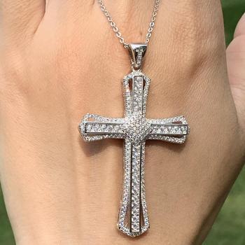 Vecalon oryginalna biżuteria gorąca sprzedaż 925 srebro Pave biały 5A CZ Party krzyż wisiorek kobiety naszyjnik ślubny prezent tanie i dobre opinie Cyrkon SILVER cross TRENDY DKSFK 58MM*32MM 0 6MM*0 6MM 45CM+5CM