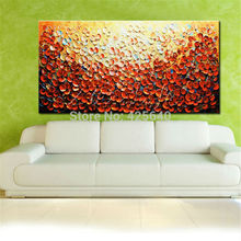 Hand Painted Palette Knife Flowers Oil Paintings Wall Art Canvas Pictures Modern Abstract Living Room orange cuadros decoracion