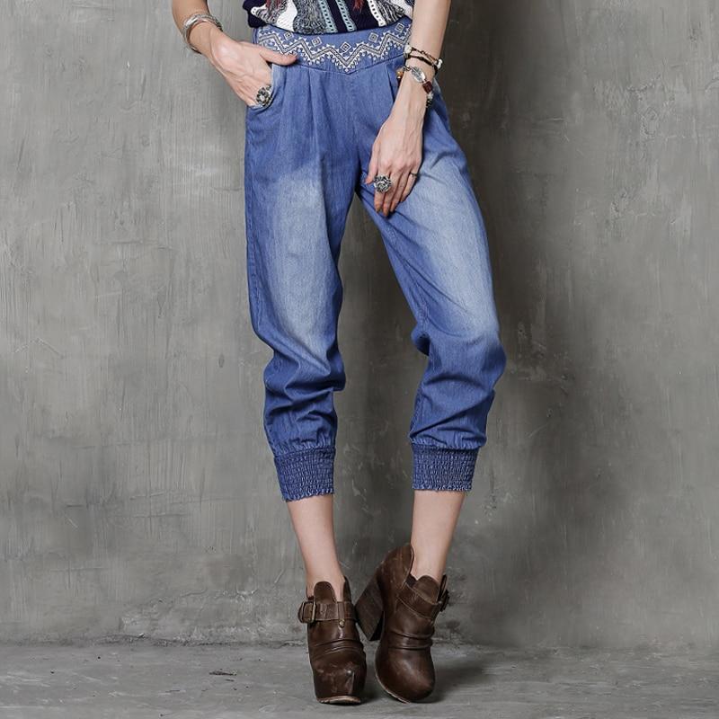 ФОТО Jeans Women 2017 New Vintage Boho Summer Denim Jean Floral Embroidery Ankle Calf-Length Pants Skinny Jeans Harem Pants Plus Size