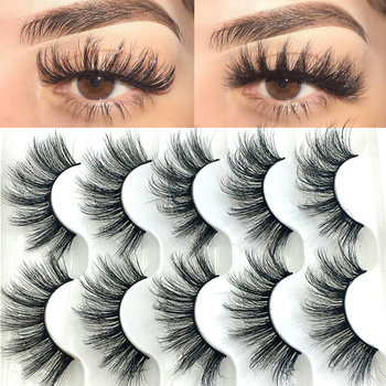 5 Pairs 6D Faux Mink Hair False Eyelashes Natural Long Wispies Lashes Handmade Cruelty-free Criss-cross Eyelashes Makeup Tools 1