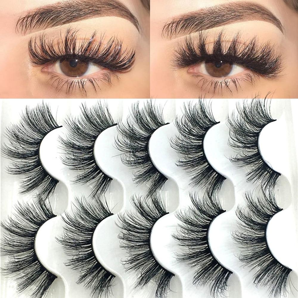 5 Pairs 6D Faux Mink Hair False Eyelashes Natural Long Wispies Lashes Handmade Cruelty-free Criss-cross Eyelashes Makeup Tools(China)