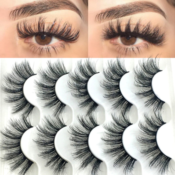 5 Pairs 6D Faux Mink Hair False Eyelashes Natural Long Wispies Lashes Handmade Cruelty-free Criss-cross Eyelashes Makeup Tools Beauty Essentials