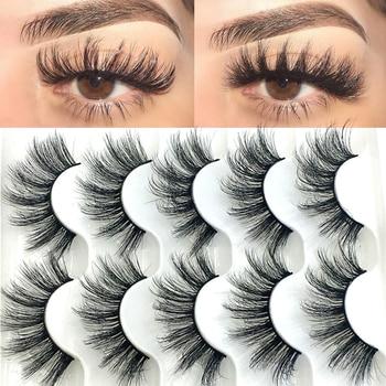5 Pairs 6D Faux Mink Hair False Eyelashes Natural Long Wispies Lashes Handmade Cruelty-free Criss-cross Eyelashes Makeup Tools
