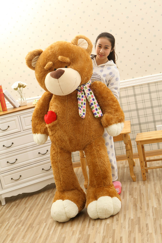 160cm Kawaii Soft Eyebrow Animal Bear skin Big Size Plush empty  Lovely Bear Doll Teddy Bear skiin  For Children Birthday Gift