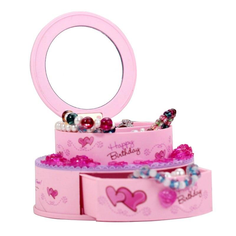 Multi-functional Cute Rotation Music Box Mirror Jewelry Box Mechanism Music Box Round Double Layer Plastic Sundries Music Box