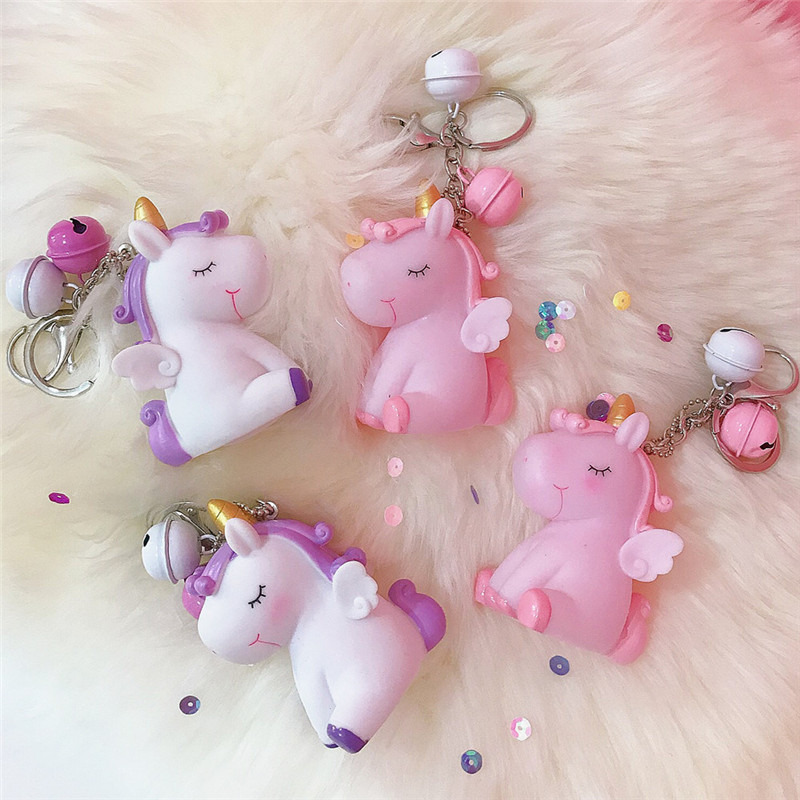 1Pc Anime Pink Unicorn Doll Keychains Keyring For Women Girl Jewelry Cartoon Car Bell Key Holder Keyring Birthday Gift K28