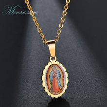 ФОТО mensazone classic virgin mary necklace gold color stainless steel virgin mary pendants necklaces for religious jewelry
