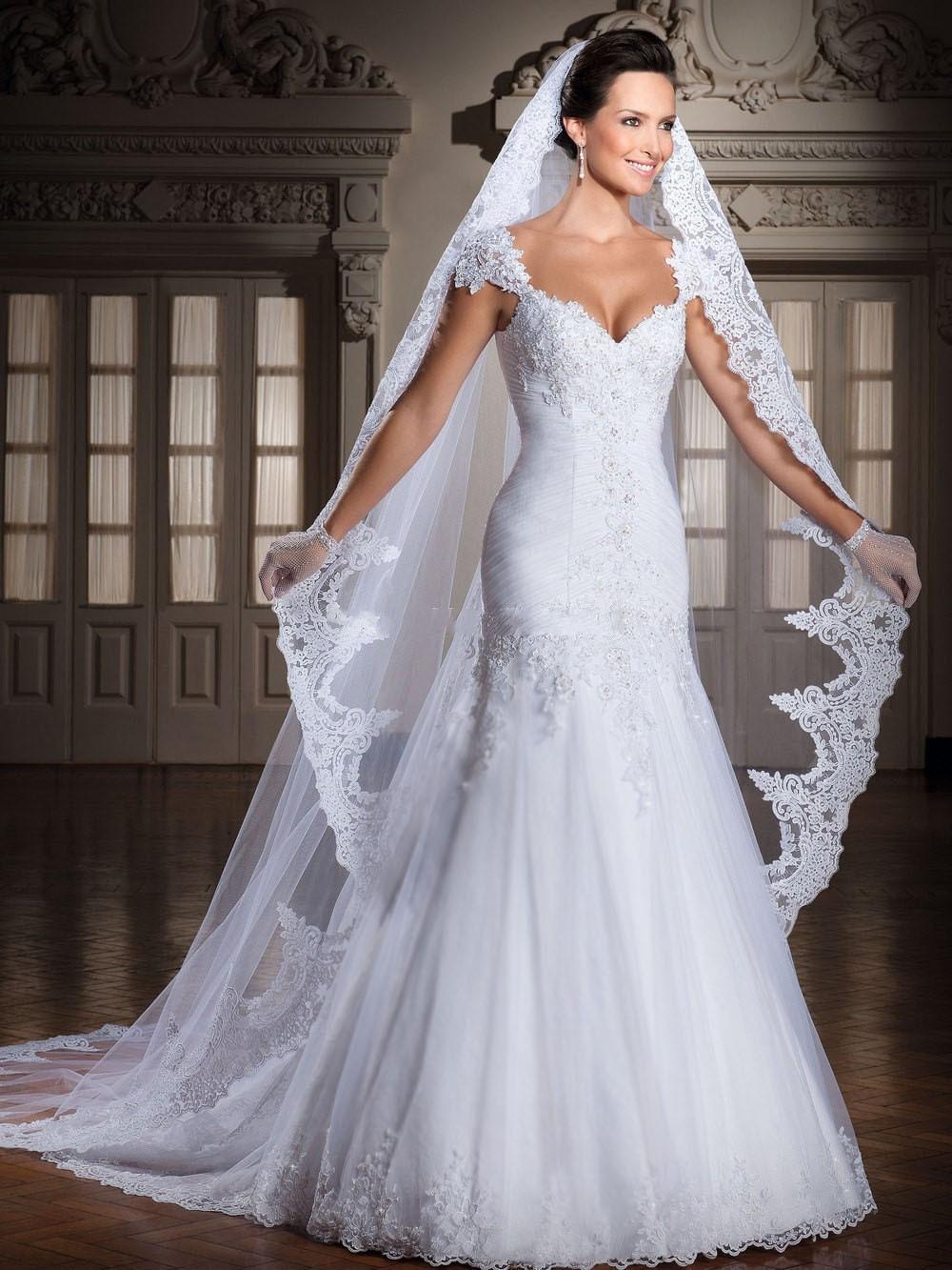 Modified A line Tulle Vestido De Casamento Cap Sleeves Wedding Dress ...
