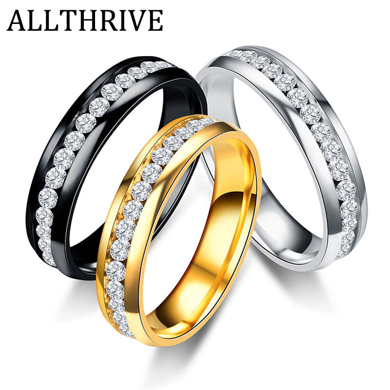 Hot Sale Crystal Stainless Steel Rings For Women Mens Gold Silver