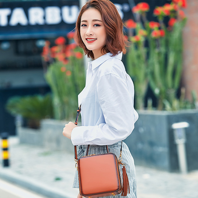 Bag Women 2018 New Messenger bags Female Genuine Leather Tassel shoulder Bag Small Flap bag Vintage Fashion Rivet Mini Handbag 1