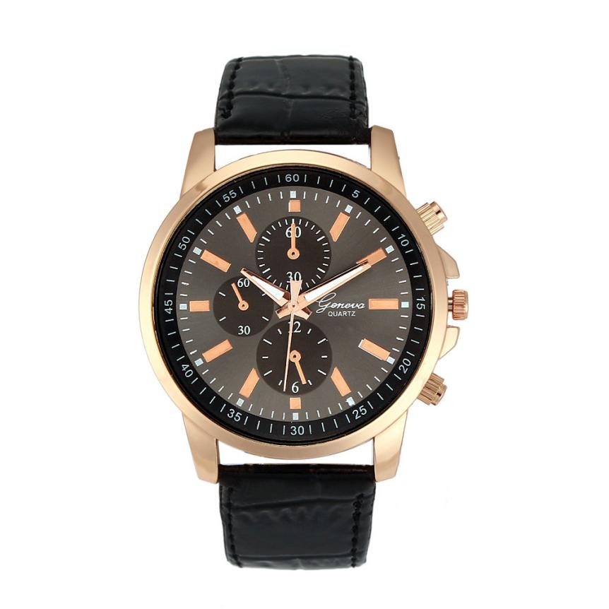 Geneva Watch Men Unisex Faux Leather Quartz Analog Wrist Watch Mens Sports Clock Women Fashion Business Watches Reloj Montre #Y цена