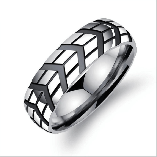 new men stainless steel rings design sliver color tyre print round shape original rings fashion