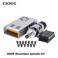 Brushless Spindle 500W CNC Spindle Motor Milling Machine Tool 55MM Clamp Stepper Motor Driver Power Supply
