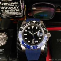 AAA luxury men's watch GMTII116710BLNR 78200 ceramic two color bezel 40MM dial blue rubber strap automatic movement double time