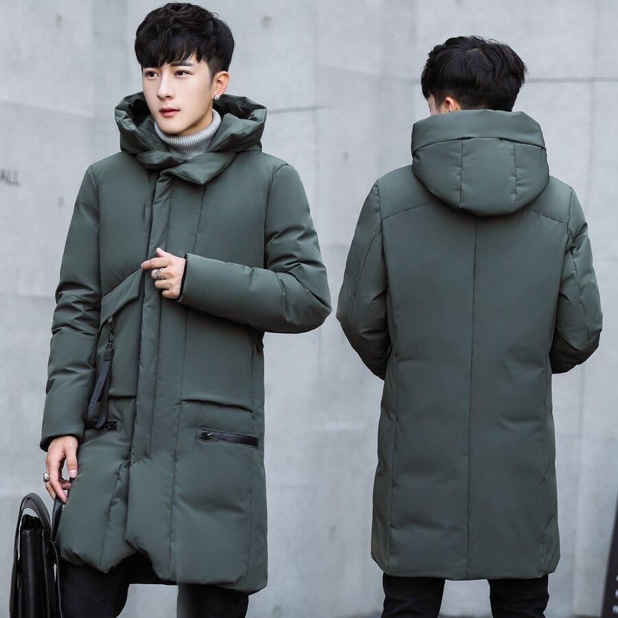 b   Parka   Men 2018 New Winter men hooded Jacket Long Jacket Slim Coat cashmere Solid Color   Parkas   Cotton Youth Clothing Clothing