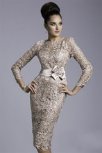 2015 new Vintage satin sheath cap sleeve knee-length sashes three quarter sleeve mother of the bride dresses AD mmz01