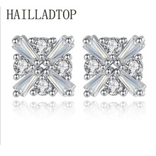 HAILLADTOP Crystal Stud Earring With CZ Diamonds Love Magic Cube Jewelry Sliver Color Female Popular Jewelry Wholesale Brincos