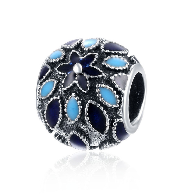 New Fashion Blue Flower 925 Sterling Silver Beads For Jewelry Making Charms Fit ForPandora Bracelets Handmaking