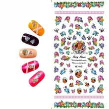 1X WATER DECAL NAIL STICKER FLOWER MELODY ANGEL SISTER BABY BIRD PLOVER THREE COLORS YE001-006(China)