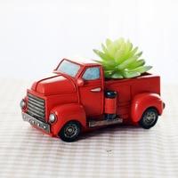 Creative Hot Cartoon Retro Car Resin Succulent Flower Planter Flower Pot Desktop Home Decoration Garden Supplies Birthday Gifts