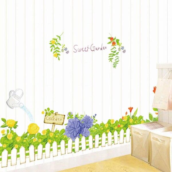 Wandaufkleber Aquarell Frische Gartenpflanze Motive Wohnzimmer Kinderzimmer  Kindergarten Schlafzimmer Flur Fußleiste Fernsehen Couch