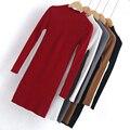 Otoño invierno 2016 nuevas Mujeres de La Moda suéter largo de alta elástico de Cuello Alto Sólido delgado apretado atractivo Que Basa Pullover suéter tejido