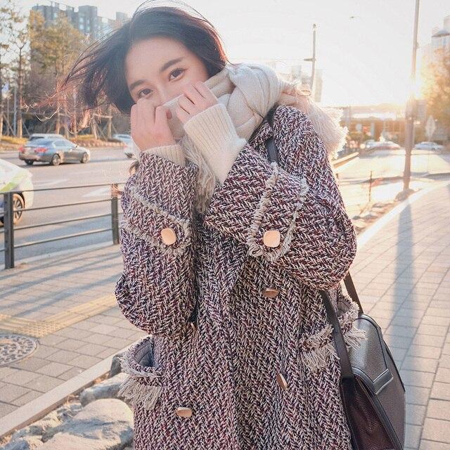 mujer  winter Women's Wool Coat New Fashion Long Woolen Coat Single  Blends Plaid loose Female Lattice Wool Coat Korean vestiti