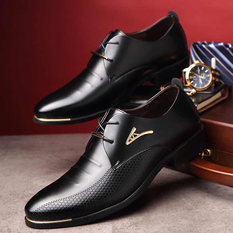 Роскошные брендовые Классические Мужские модельные туфли с острым носком; мужские черные свадебные туфли из лакированной кожи; Туфли-оксфорды; модельные туфли; большие размеры