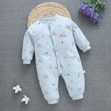 New 0-12M Baby Rompers Winter Warm Cotton Clothing Set for Boys Cartoon Moon Infant Girls Clothes Newborn Overalls Baby Jumpsuit цены онлайн