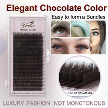 YELIX 0.07 C D False Eyelashes Individual Eyelash Extension Color Fake Eye Lashes Mink Eyelash Extension 100% real Dark Brown