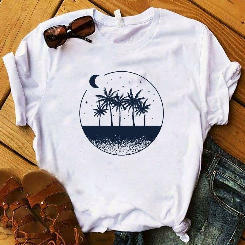 Camiseta veraniega con palmeras para mujer, camiseta a la moda con gráfico geométrico para playa, camiseta estampada para mujer, camiseta femenina Camiseta con letras de amigos, camiseta de moda de verano para mujer con dibujos estéticos de amigos, pantalón corto informal de manga corta, graciosas camisetas coreanas para mujer