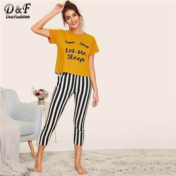 Women's Let Me Sleep Striped Pajama Set