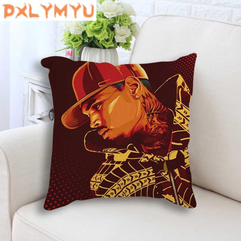 Nórdico Capa de Almofada Rock Rap Cantor Poster Throw Pillow Caso Capa de Almofada Decorativa 45x45 cm